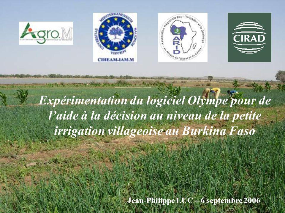 Expérimentation du logiciel Olympe pour de l'aide à la décision au niveau de la petite irrigation villageoise au Burkina Faso