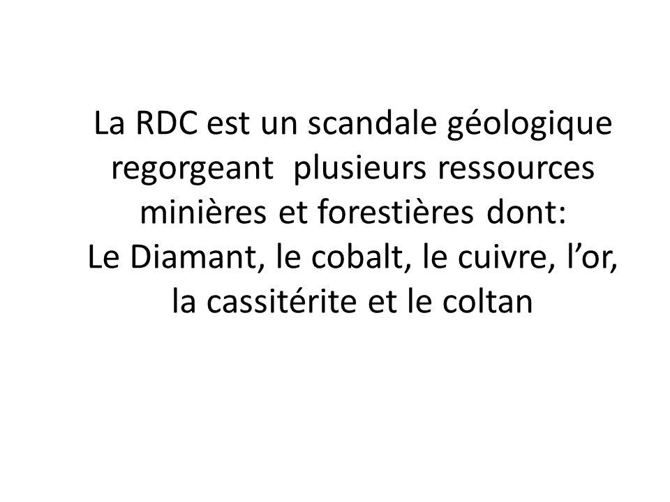 La RDC est un scandale géologique regorgeant plusieurs ressources minières et forestières dont: Le Diamant, le cobalt, le cuivre, l'or, la cassitérite et le coltan