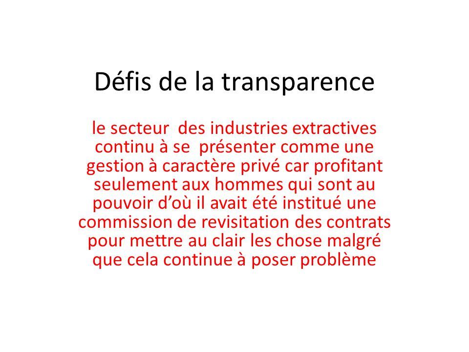 Défis de la transparence