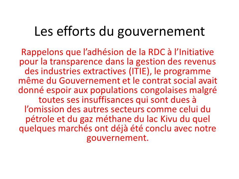 Les efforts du gouvernement