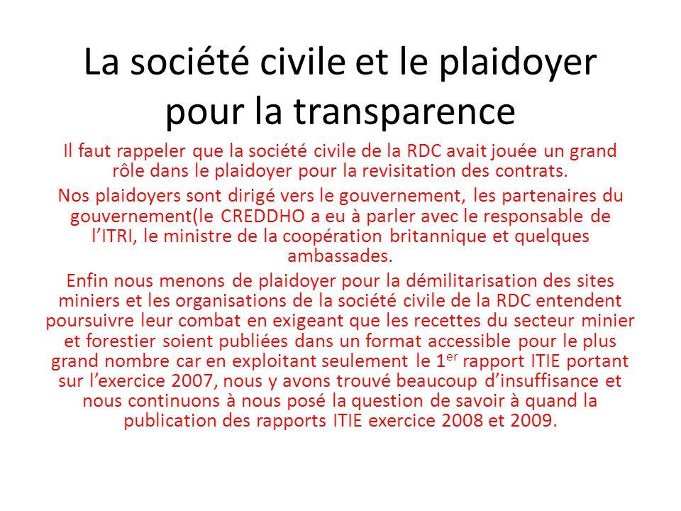 La société civile et le plaidoyer pour la transparence