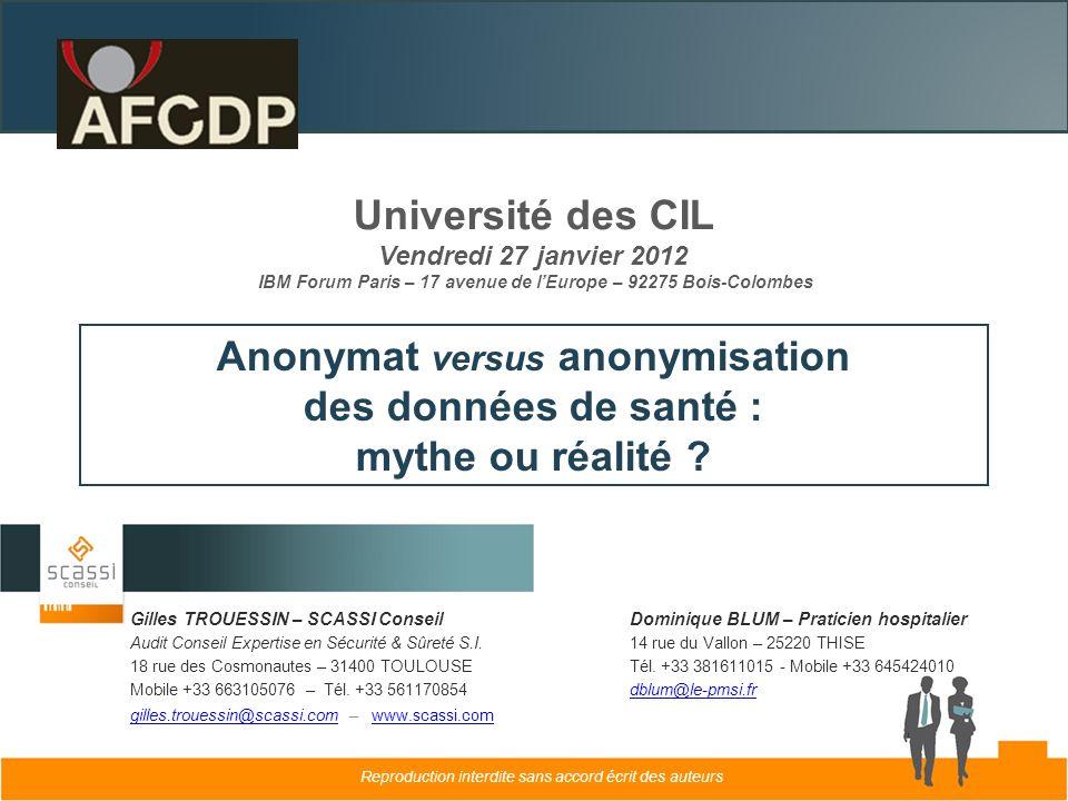 Anonymat versus anonymisation des données de santé :