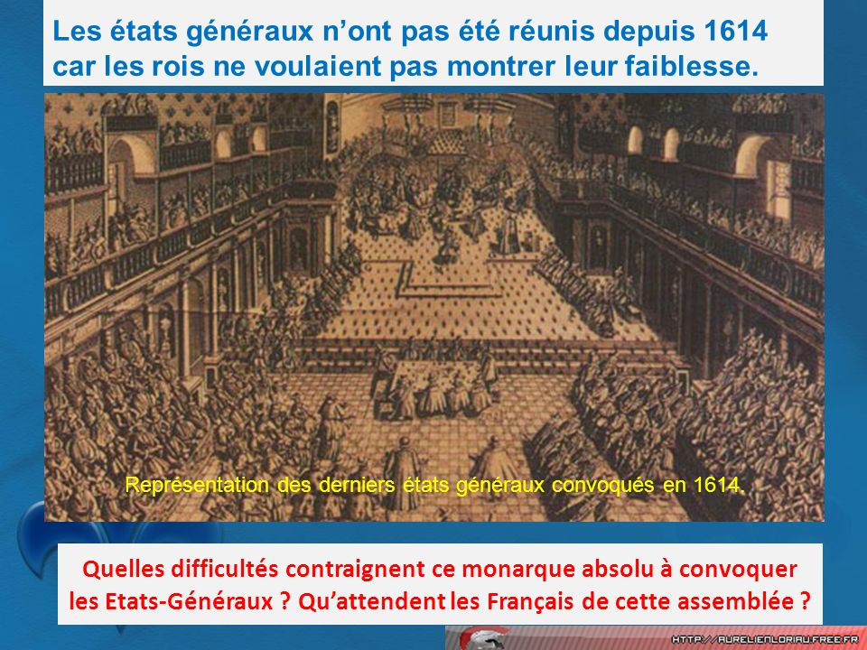 Représentation des derniers états généraux convoqués en 1614.
