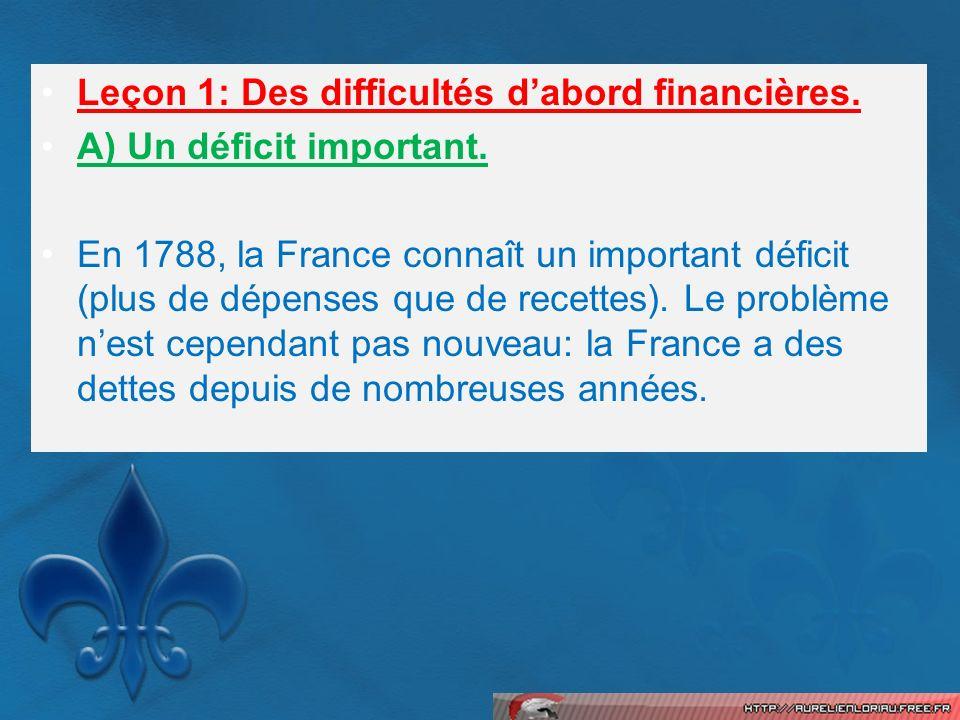 Leçon 1: Des difficultés d'abord financières.