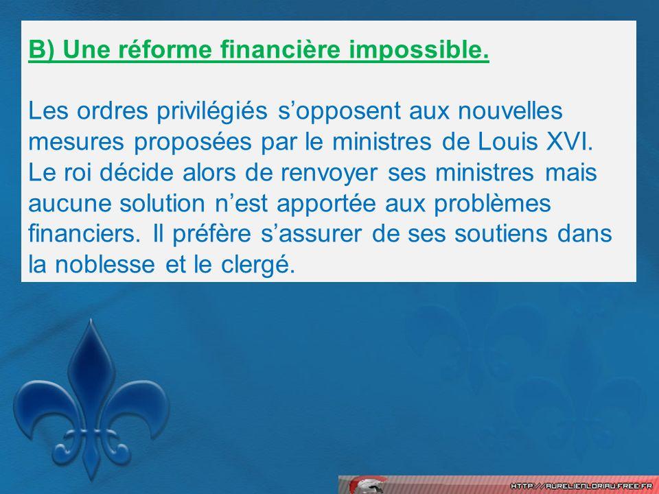 B) Une réforme financière impossible