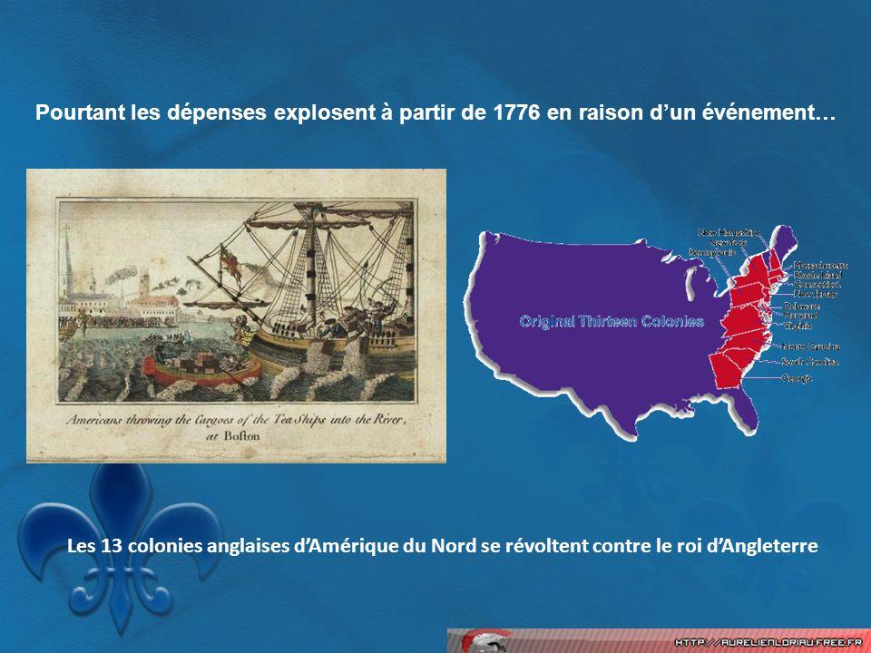 Pourtant les dépenses explosent à partir de 1776 en raison d'un événement…