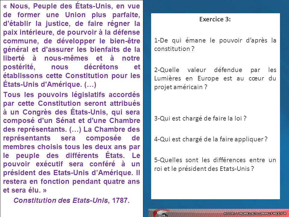 Constitution des Etats-Unis, 1787.
