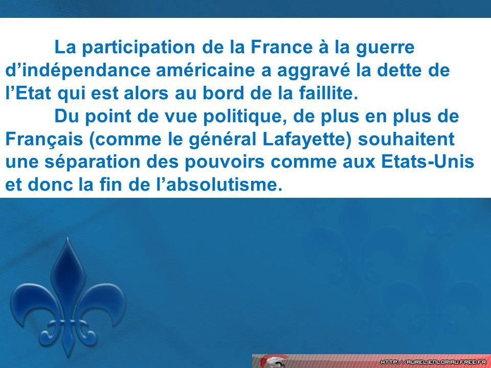 La participation de la France à la guerre d'indépendance américaine a aggravé la dette de l'Etat qui est alors au bord de la faillite.