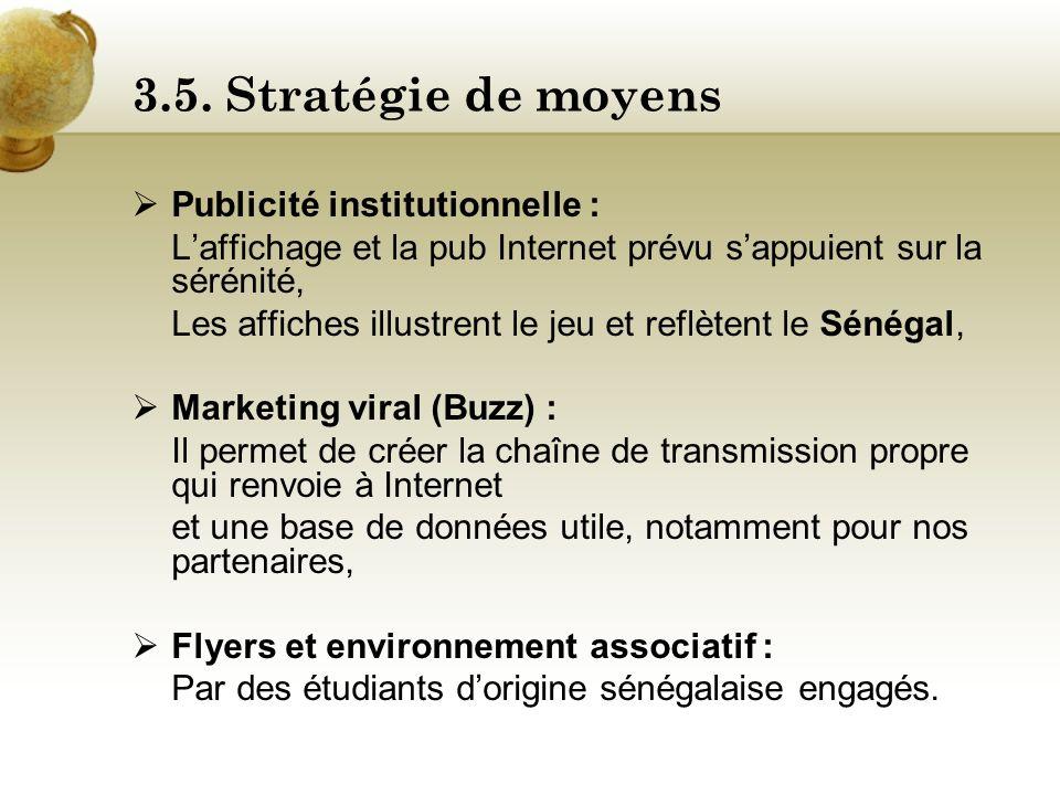 3.5. Stratégie de moyens Publicité institutionnelle :