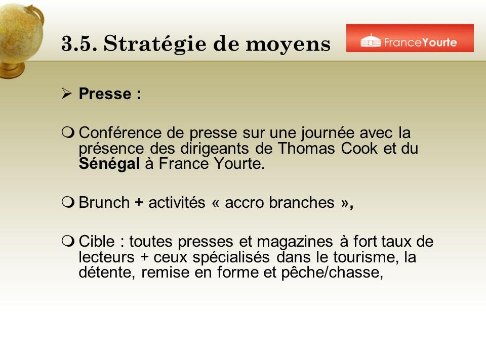 3.5. Stratégie de moyens Presse :