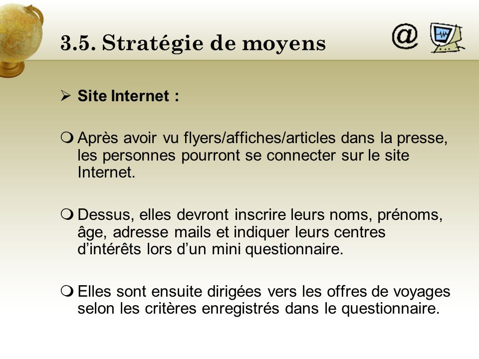 3.5. Stratégie de moyens Site Internet :