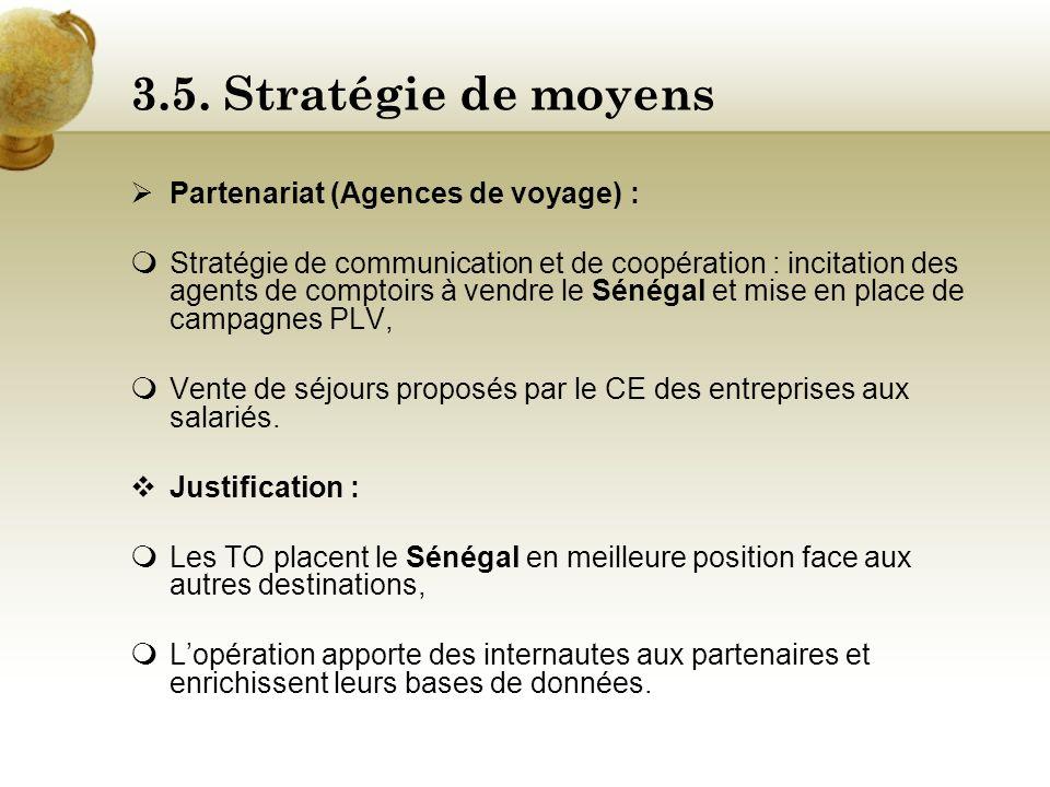 3.5. Stratégie de moyens Partenariat (Agences de voyage) :