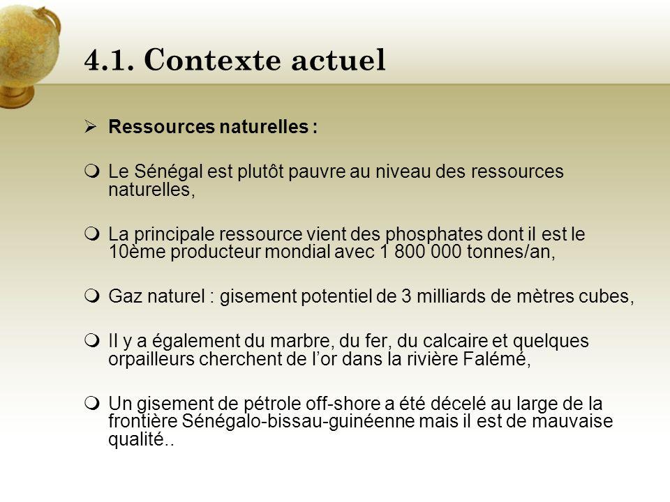 4.1. Contexte actuel Ressources naturelles :