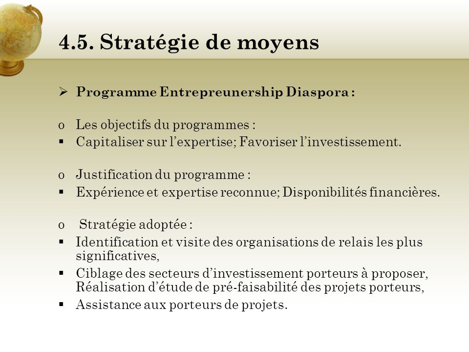 4.5. Stratégie de moyens Programme Entrepreunership Diaspora :