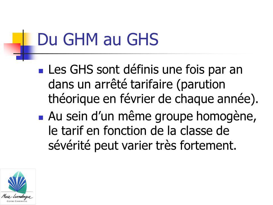 Du GHM au GHS Les GHS sont définis une fois par an dans un arrêté tarifaire (parution théorique en février de chaque année).