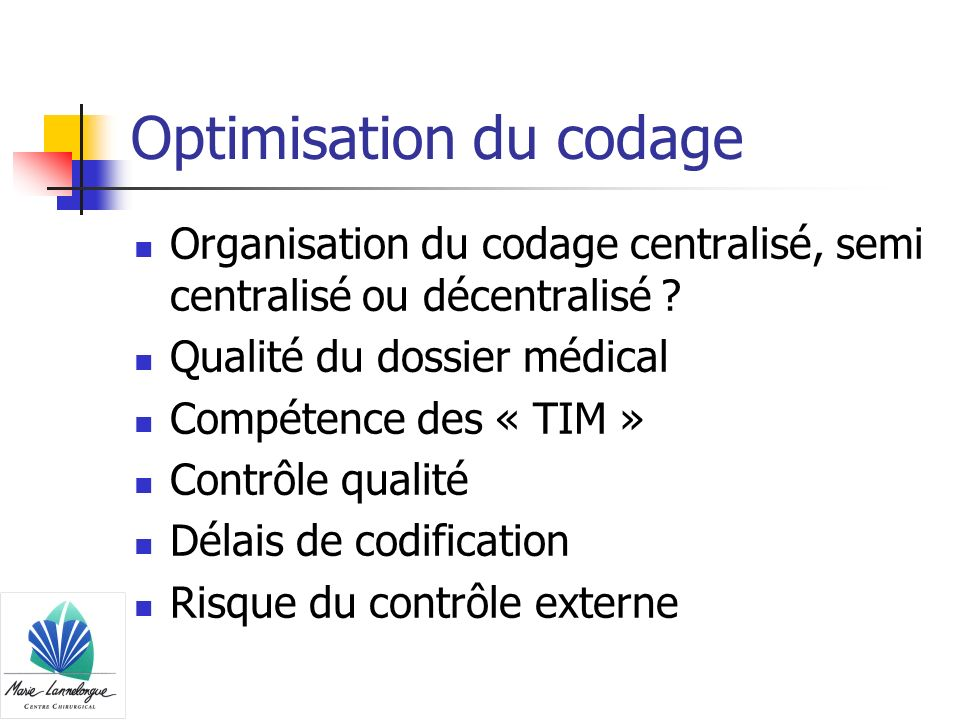 Optimisation du codage