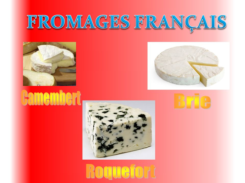 FROMAGES FRANÇAIS Camembert Brie Roquefort