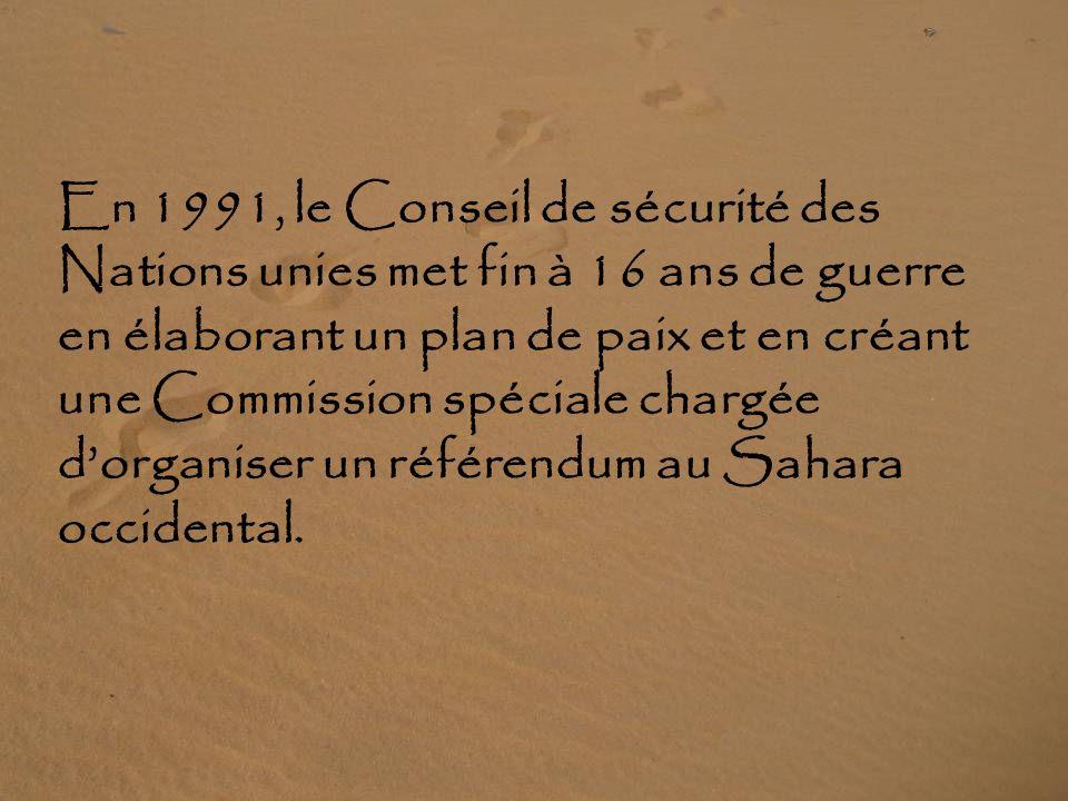 En 1991, le Conseil de sécurité des Nations unies met fin à 16 ans de guerre en élaborant un plan de paix et en créant une Commission spéciale chargée d'organiser un référendum au Sahara occidental.