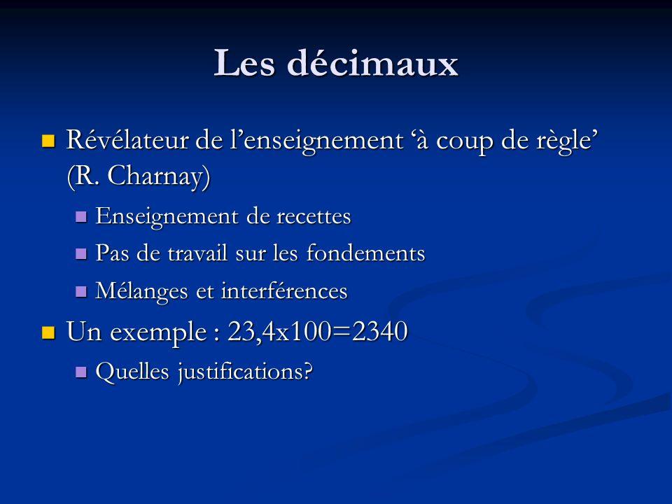 Les décimaux Révélateur de l'enseignement 'à coup de règle' (R. Charnay) Enseignement de recettes.