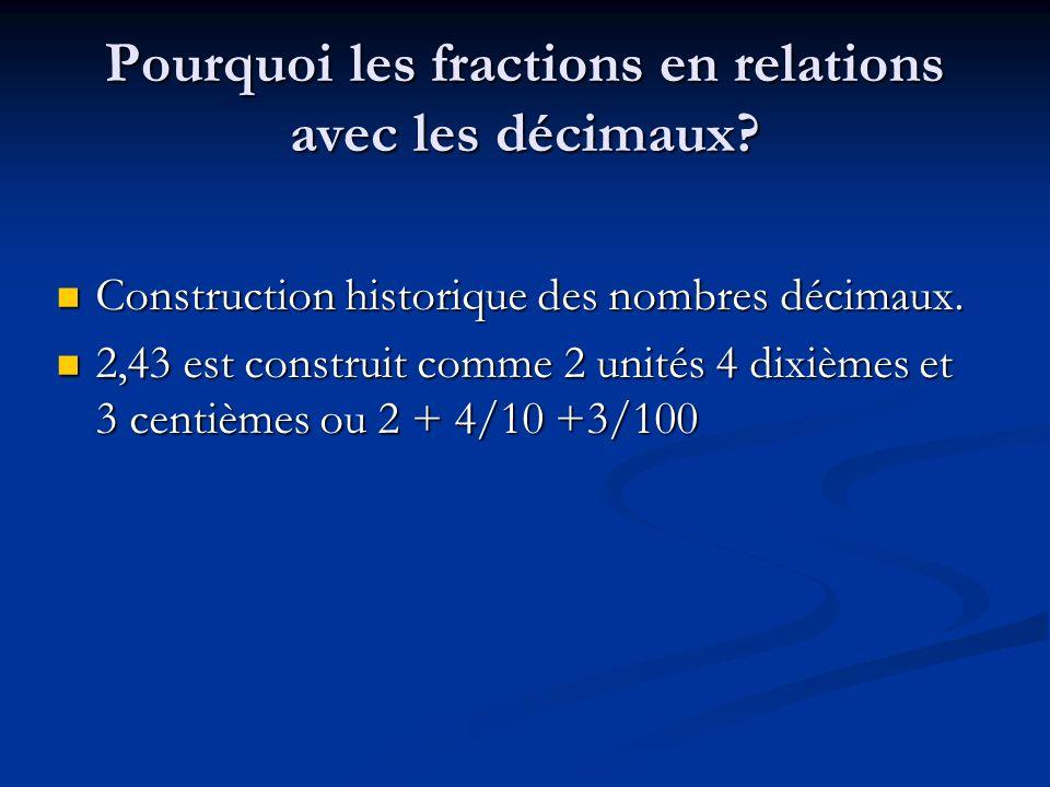 Pourquoi les fractions en relations avec les décimaux