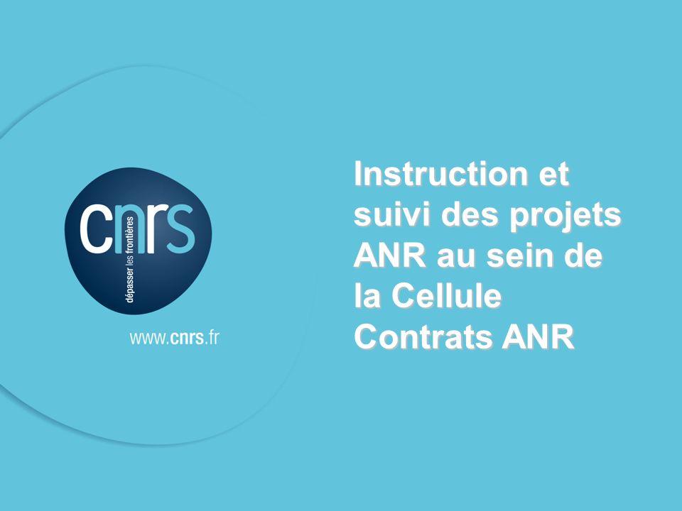 Instruction et suivi des projets ANR au sein de la Cellule Contrats ANR