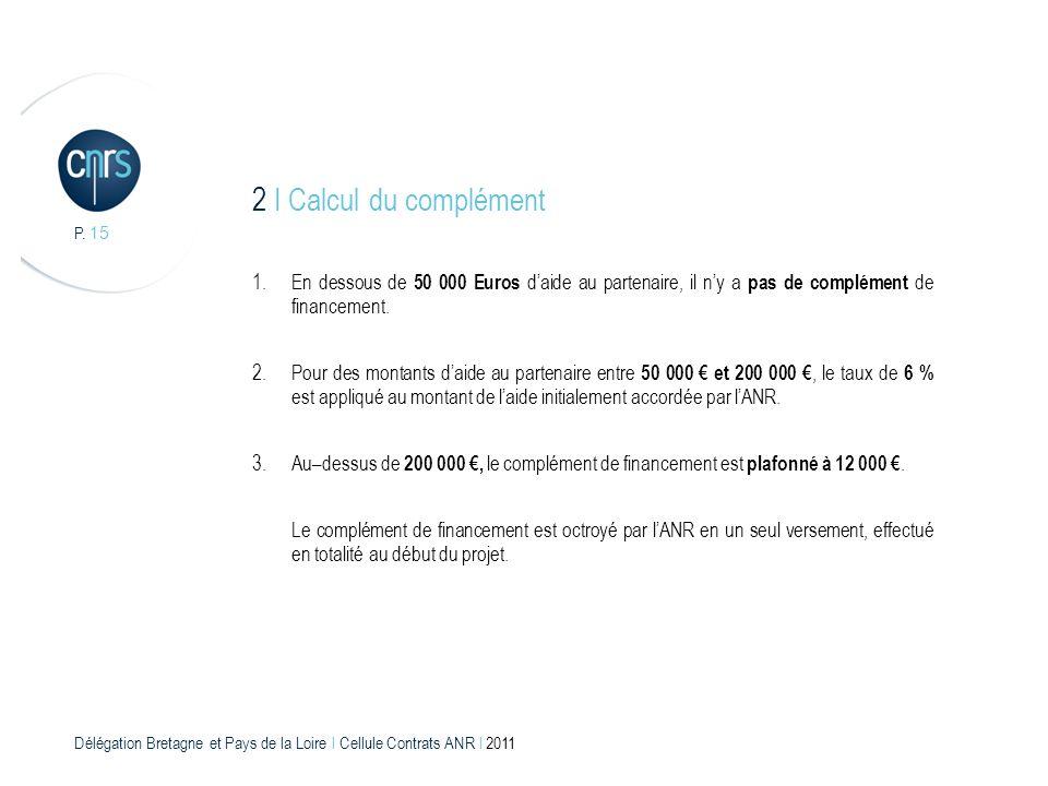 2 I Calcul du complément P. 15. En dessous de 50 000 Euros d'aide au partenaire, il n'y a pas de complément de financement.