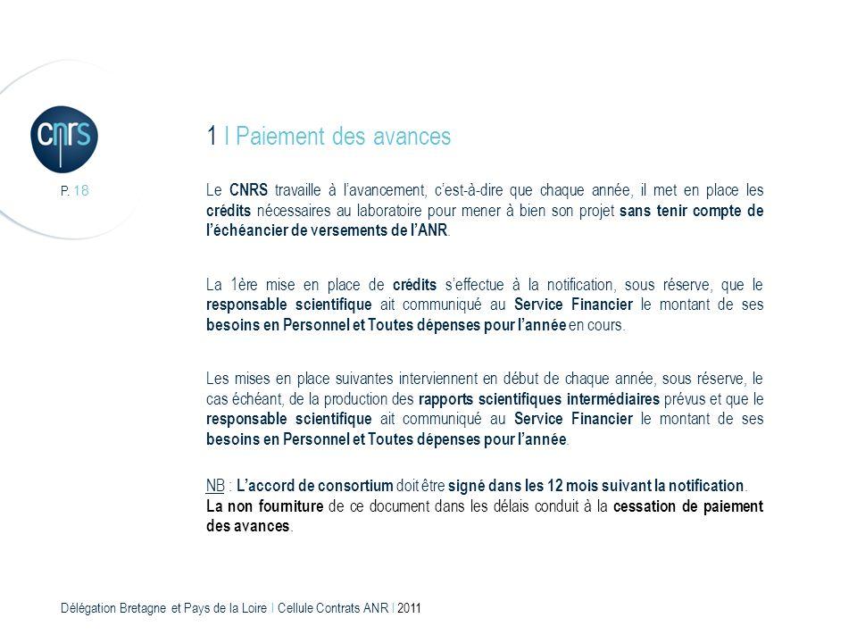 1 I Paiement des avances P. 18.