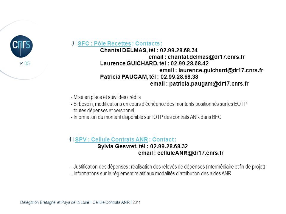 3 I SFC : Pôle Recettes : Contacts :