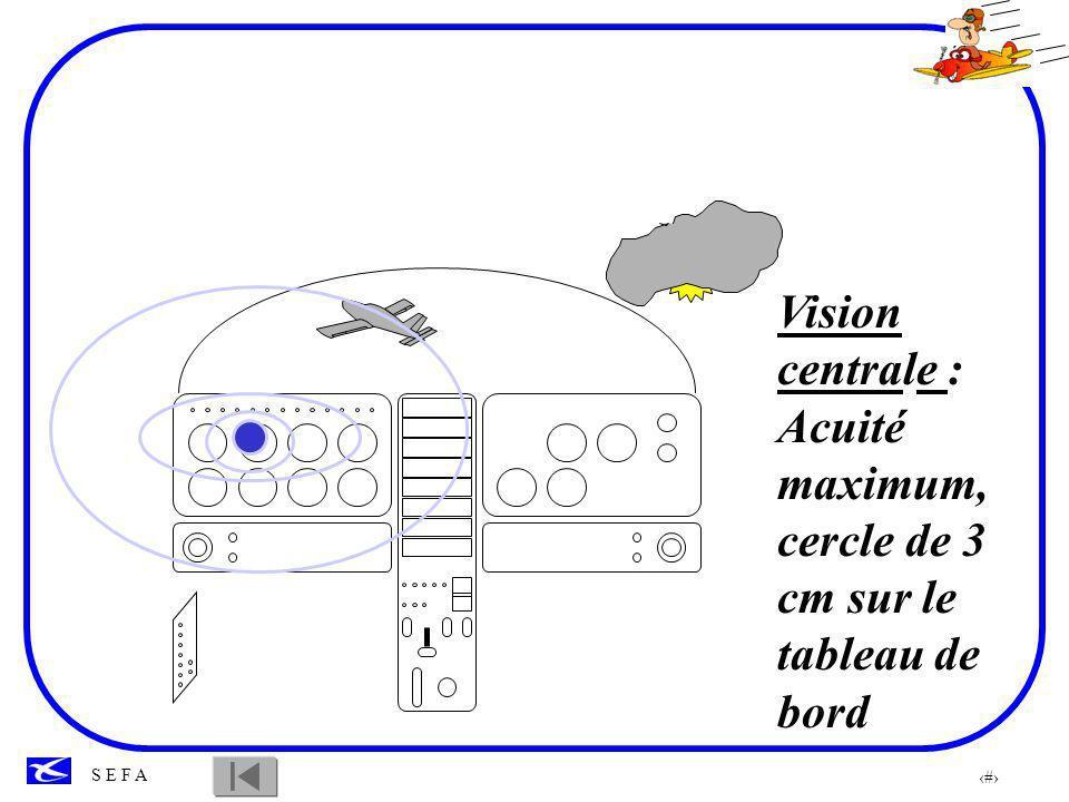 Vision centrale : Acuité maximum, cercle de 3 cm sur le tableau de bord