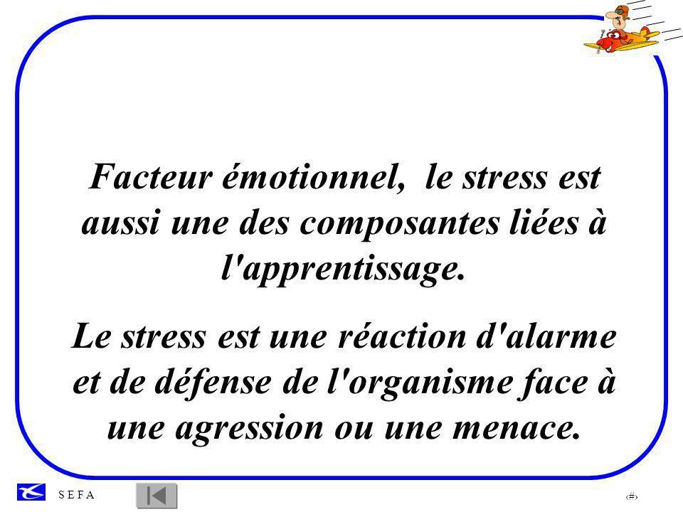 Facteur émotionnel, le stress est aussi une des composantes liées à l apprentissage.