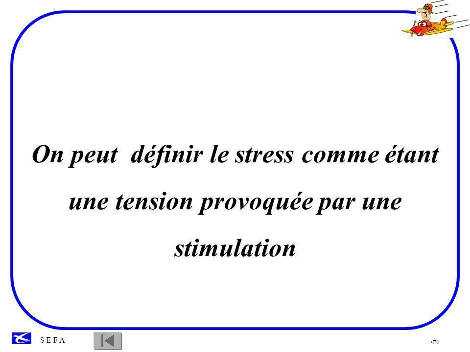 On peut définir le stress comme étant une tension provoquée par une