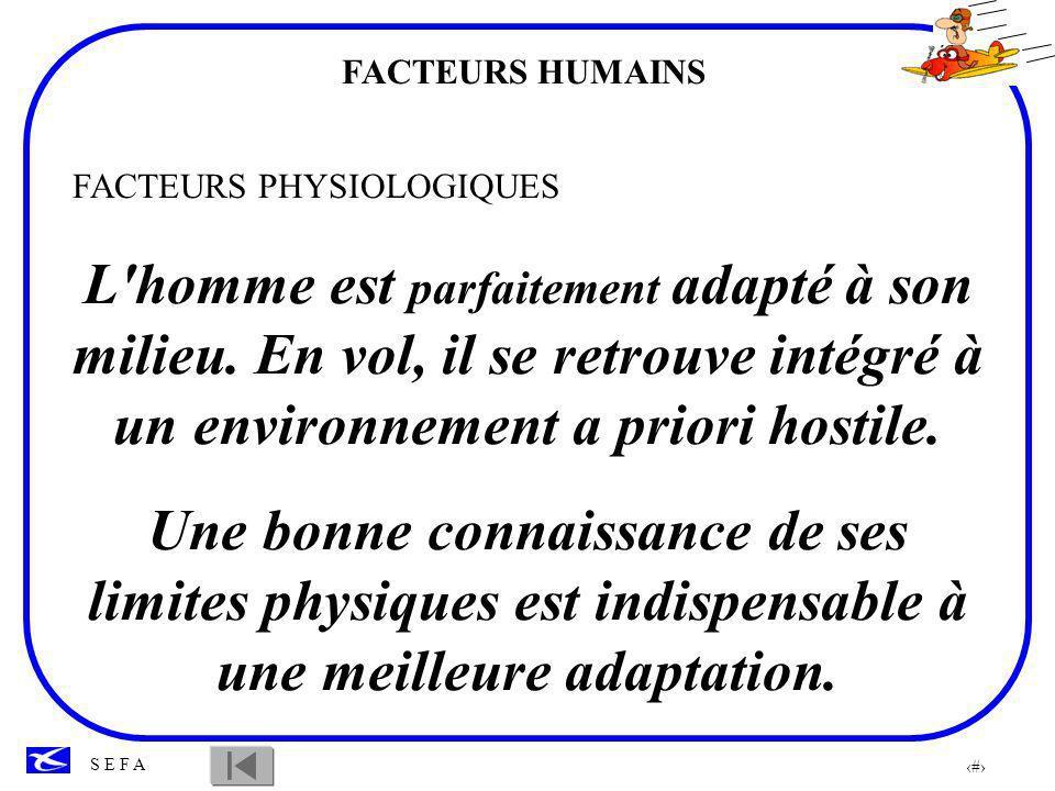 FACTEURS HUMAINS FACTEURS PHYSIOLOGIQUES.