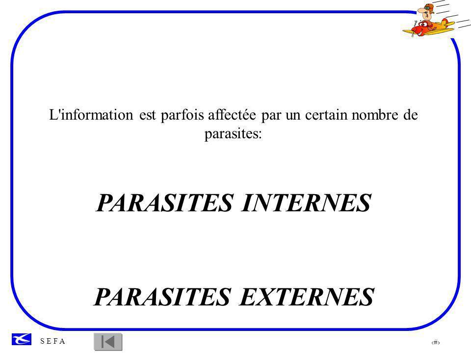 L information est parfois affectée par un certain nombre de parasites: