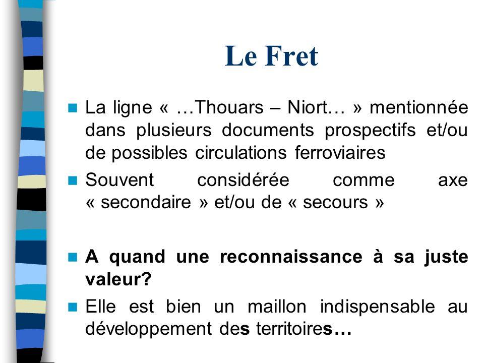 Le Fret La ligne « …Thouars – Niort… » mentionnée dans plusieurs documents prospectifs et/ou de possibles circulations ferroviaires.