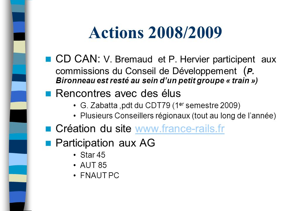 Actions 2008/2009