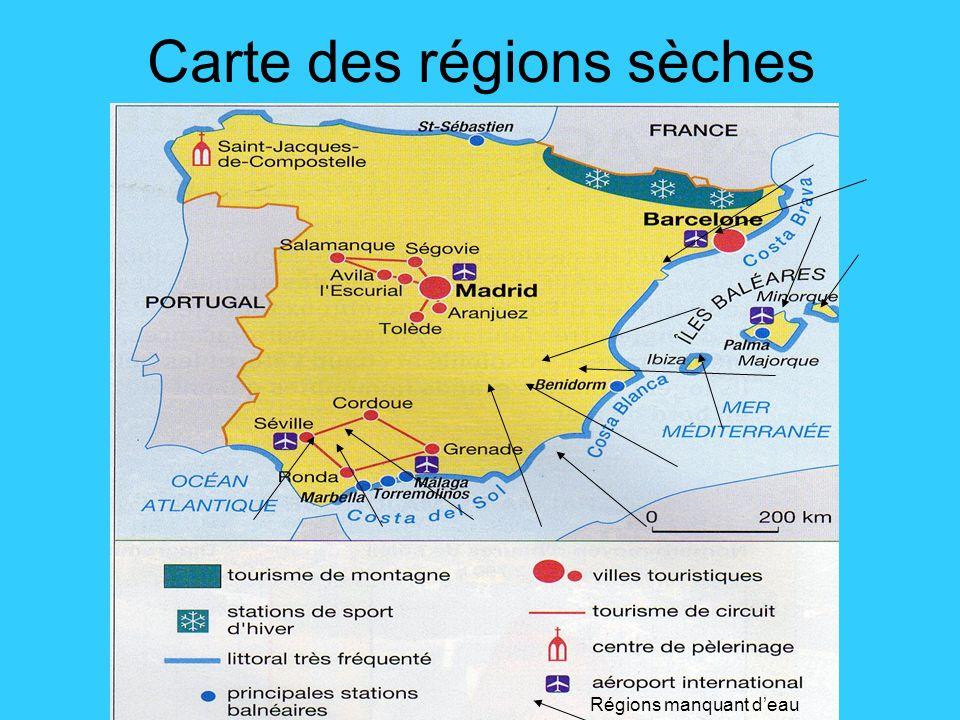 Carte des régions sèches