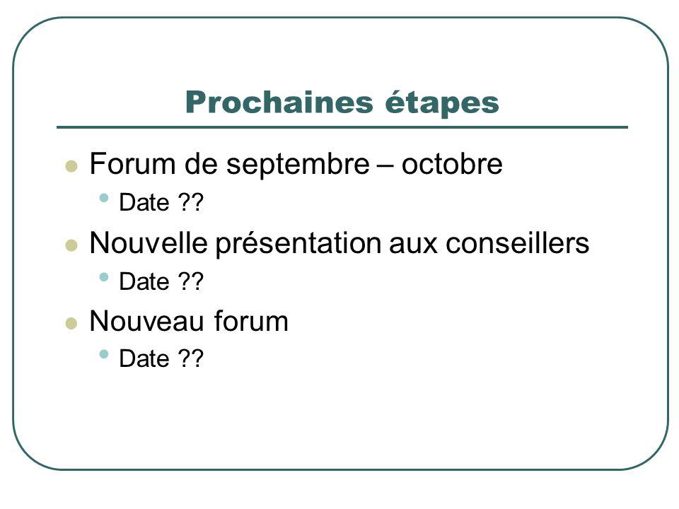 Prochaines étapes Forum de septembre – octobre