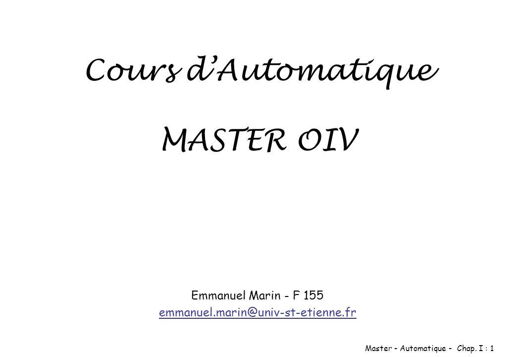 Cours d'Automatique MASTER OIV