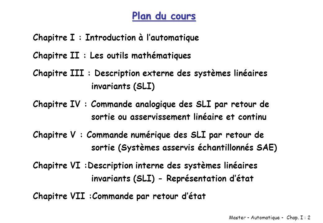 Plan du cours Chapitre I : Introduction à l'automatique