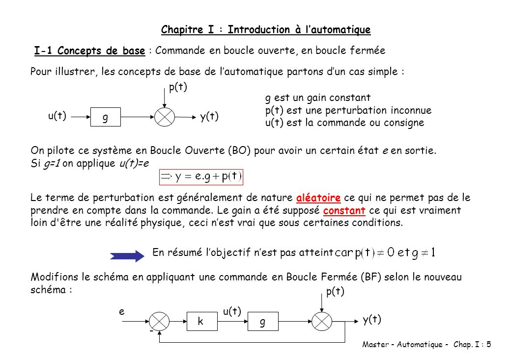 Chapitre I : Introduction à l'automatique