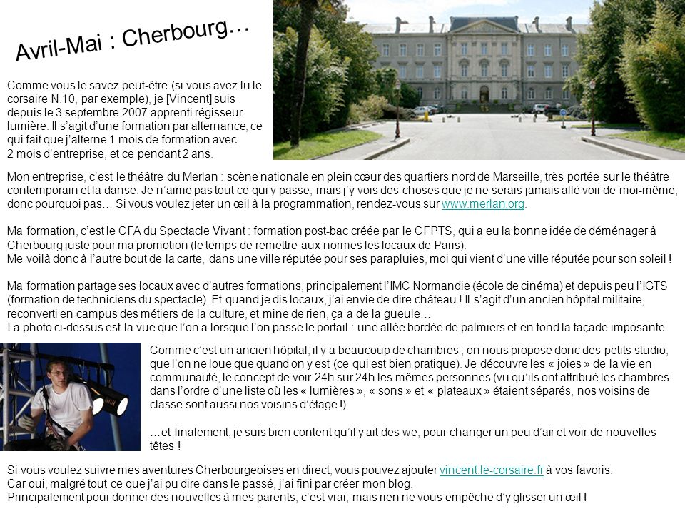 Avril-Mai : Cherbourg…