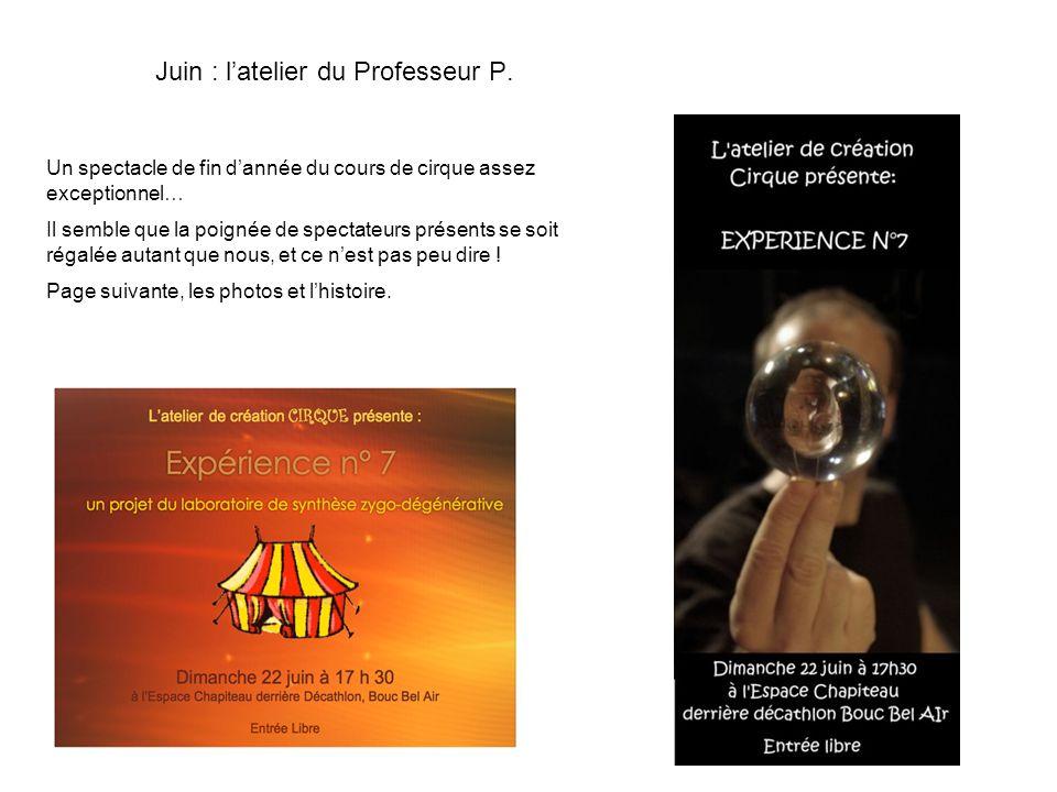 Juin : l'atelier du Professeur P.