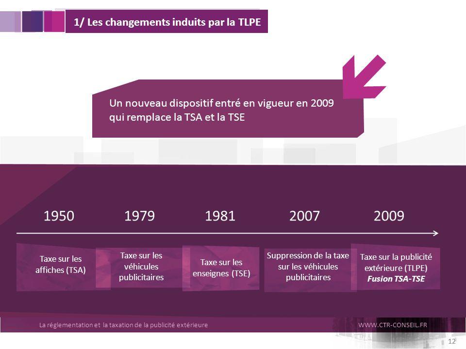  1950 1979 1981 2007 2009 1/ Les changements induits par la TLPE