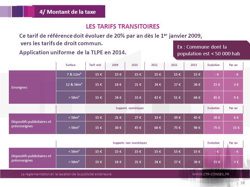 LES TARIFS TRANSITOIRES Supports non numériques