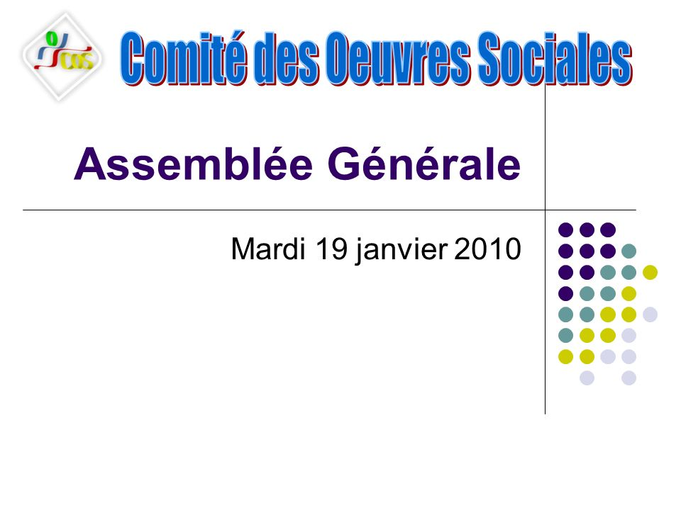Assemblée Générale Mardi 19 janvier 2010