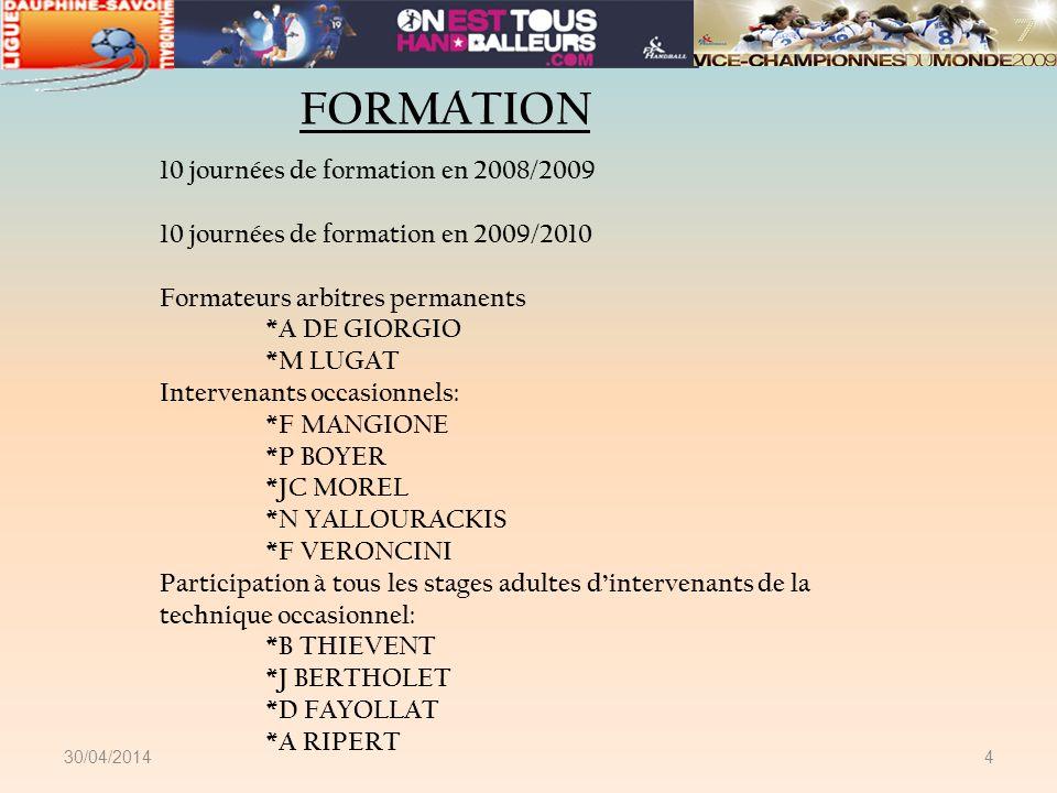 FORMATION 10 journées de formation en 2008/2009