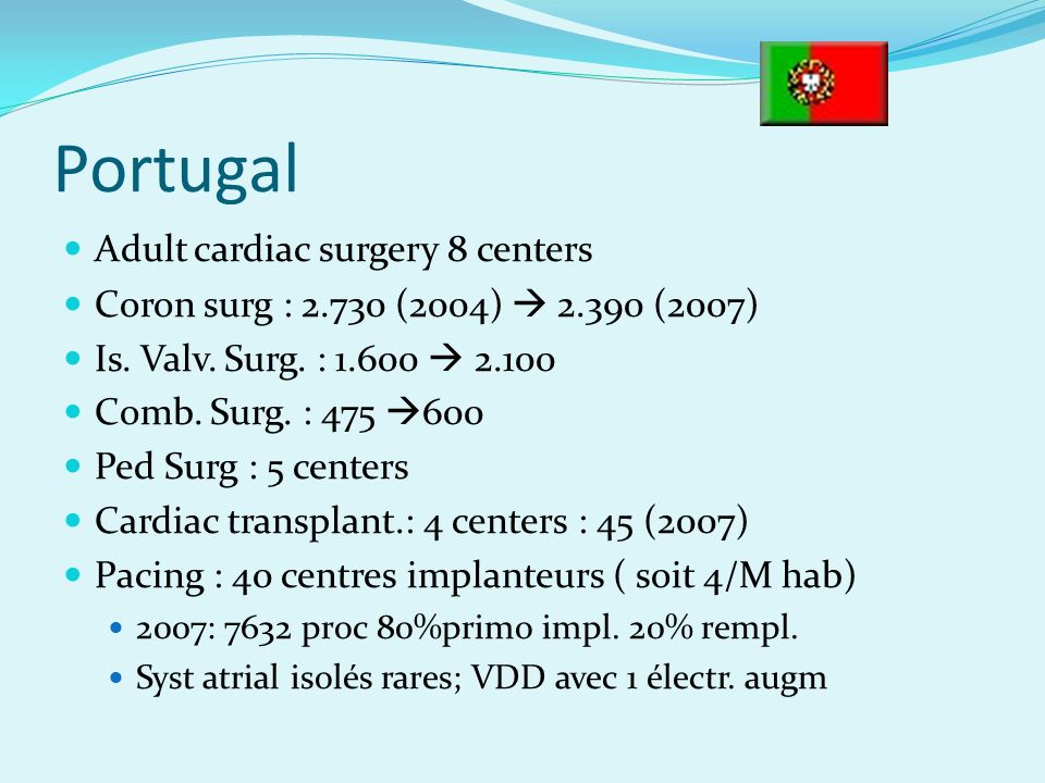 Portugal Adult cardiac surgery 8 centers