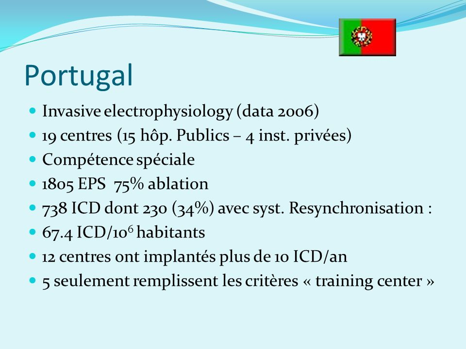 Portugal Invasive electrophysiology (data 2006)