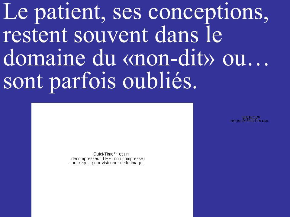 Le patient, ses conceptions, restent souvent dans le domaine du «non-dit» ou… sont parfois oubliés.