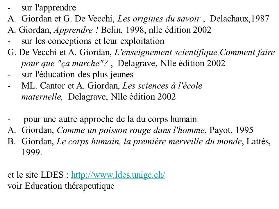 sur l apprendre Giordan et G. De Vecchi, Les origines du savoir , Delachaux,1987. A. Giordan, Apprendre ! Belin, 1998, nlle édition 2002.